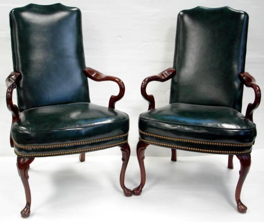 619: PAIR GEORGIAN LEATHER MAHOGANY LIBRARY CHAIRS