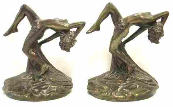 957: PAIR BRONZE ART DECO CLAD NUDE FIGURAL BOOKENDS