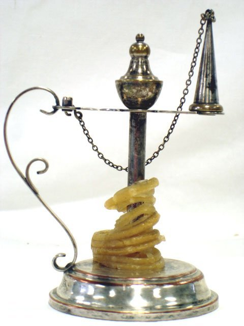 965: EXETER SILVER PLATE ANTIQUE WAX JACK  SEALING LAMP - 2