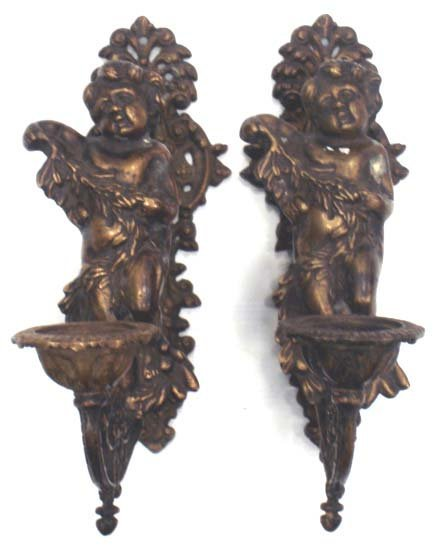 503: PAIR BRONZE PATINATED FIGURAL SCONCES