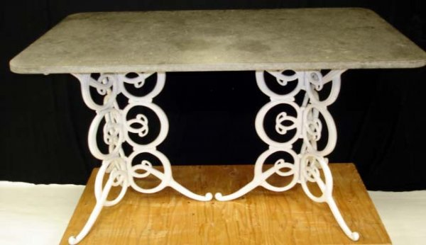504: 5PC. WROUGHT IRON WITH MARBLE PATIO SET