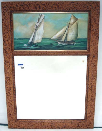 507: SEASCAPE PAINTED MODERN MIRROR