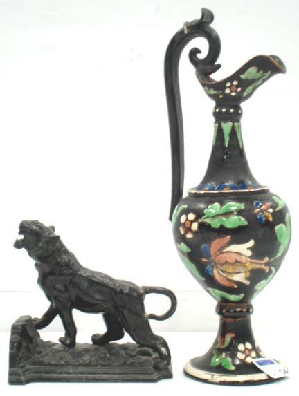 510: MAJOLICA/TIGER BOOKEND