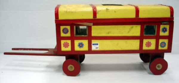 517: VINTAGE WOOD WAGON TOY