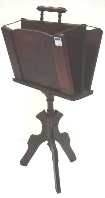 519: CARVED EASTLAKE VICTORIAN MAGAZINE STAND