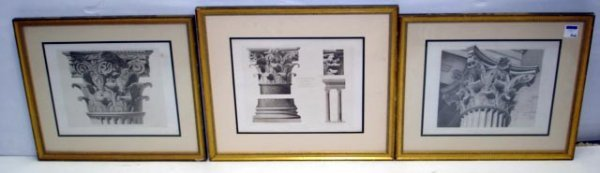 102: GROUP OF 3 FRENCH ARCHITECTURAL FRAMED PRINTS