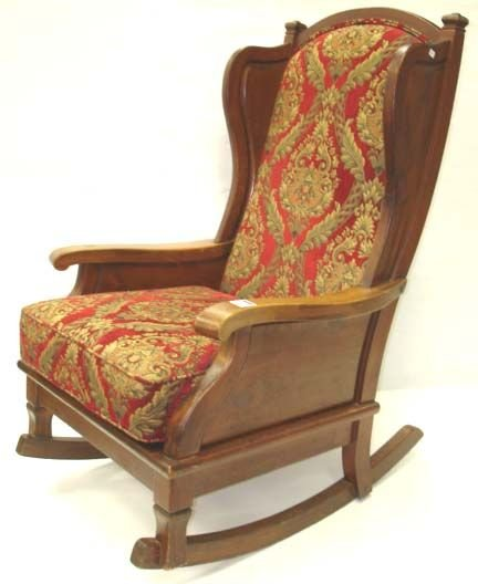 710: ARTS AND CRAFTS STYLE UPHOLSTERED ROCKER