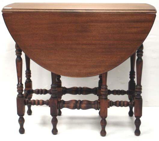 720: MAHOGANY GATE LEG DROP LEAF TABLE WITH DRAWER
