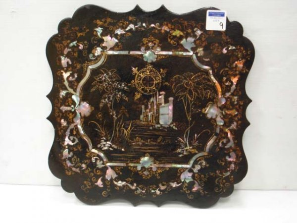 9: VICTORIAN INLAID DECORATED SIDE TABLE