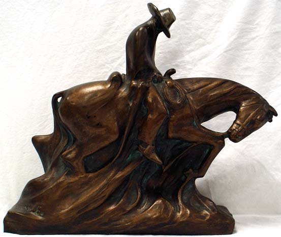 10: SIGNED BRONZE PATINATED WESTERN SCULPTURE