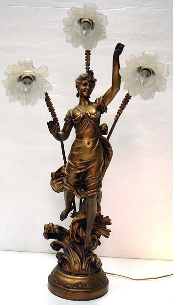 11: SIGNED FRENCH VICTORIAN FIGURAL LAMP