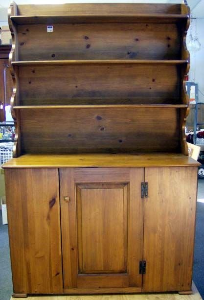 3A: COUNTRY STEP BACK CUPBOARD PINE BY CENTURY