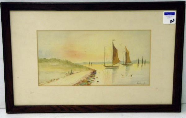 120: HUNT,C - SIGNED WATERCOLOR 7 X 14 - SHORELINE WITH