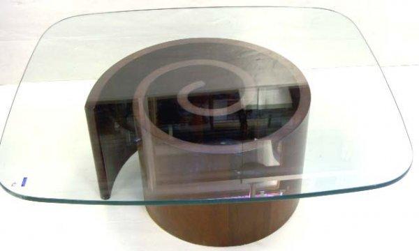 461: KAGAN MID CENTURY COFFEE TABLE WALNUT GLASS TOP 36