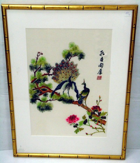 628: FRAMED ORIENTAL NEEDLEWORK ON SILK 14 X 20