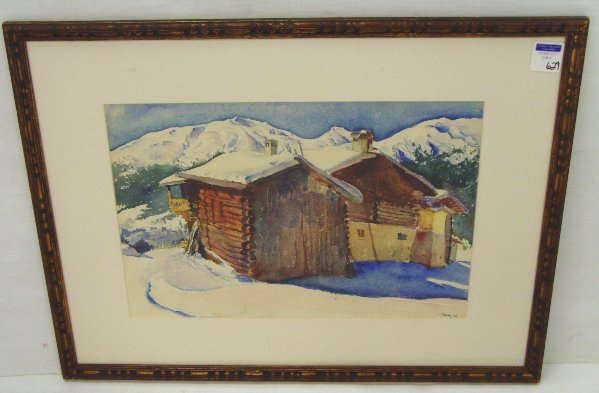 629: SIGNED WATERCOLOR - SKI CHALET - 13 X 20