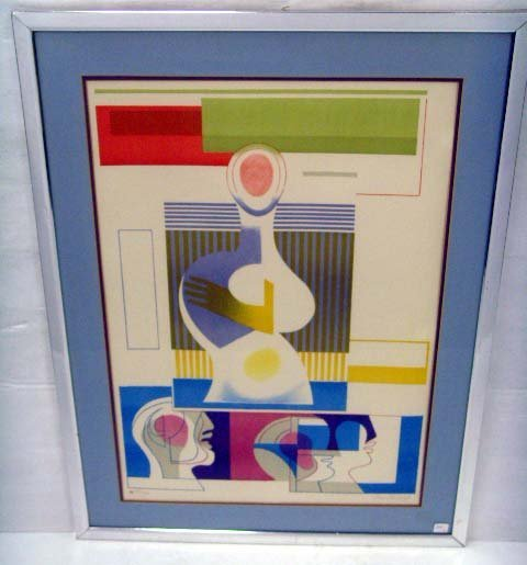 630: BARKALOFF - SIGNED ABSTRACT LITHO - 21 X 30