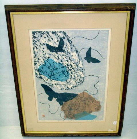 632: UEDA - SIGNED WOODBLOCK PRINT - WHITE DREAM - 16 X
