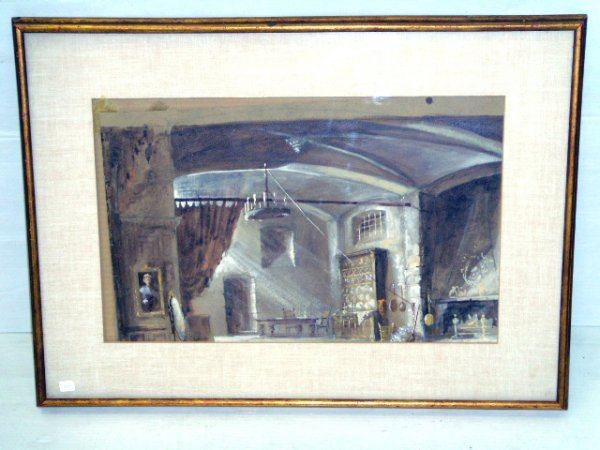 635: HADEN, SIGNED WATERCOLOR - INTERIOR SCENE - 12 X 2