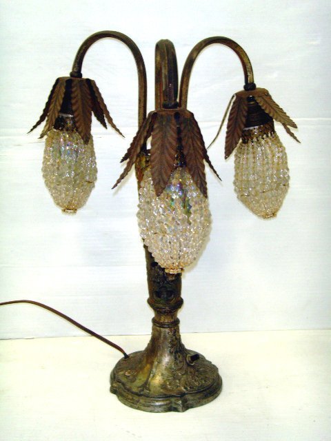 640: ITALIAN DECORATED TABLE LAMP WITH BEADED SHADES -