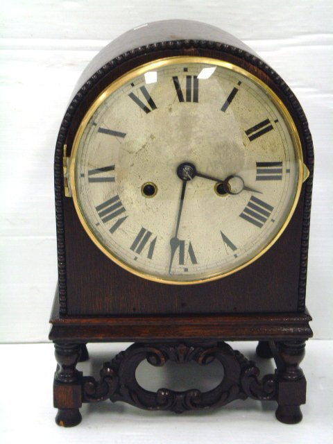 641: CARVED OAK SHELF CLOCK - GERMAN ORIGIN - 13 X 9 WO