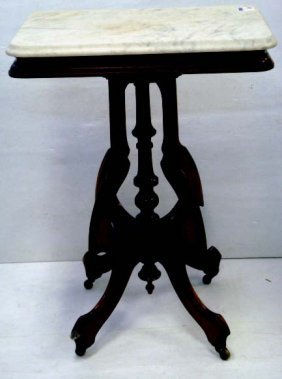 642: CARVED VICTORIAN MARBLETOP LAMP TABLE - 29 X 29 X