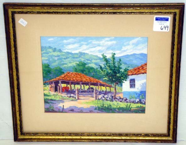 644: PACHECO,F. - SIGNED MEXICAN PAINTING - 9 X 11 LAND