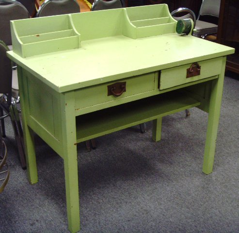 667: GUSTAV STICKLEY SIGNED MISSION OAK DESK - PAINTED