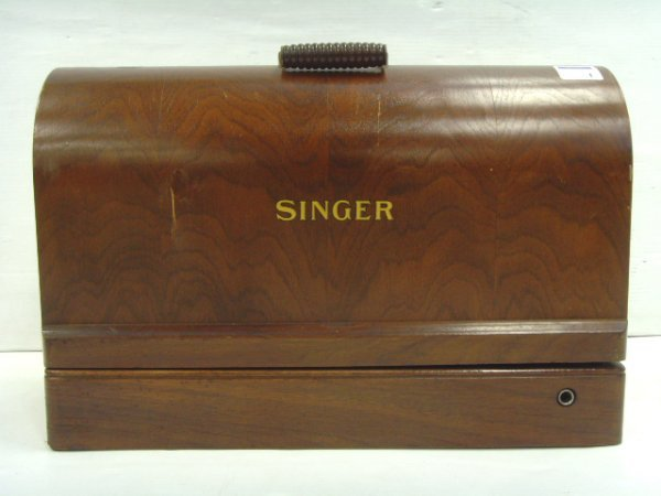 1: EARLY SINGER SEWING MACHINE WITH CASE