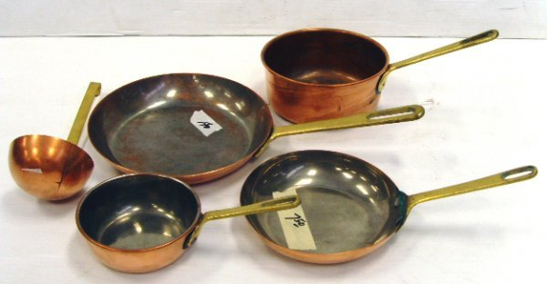 2: GROUP OF EARLY COPPER COOKWARE 5PCS