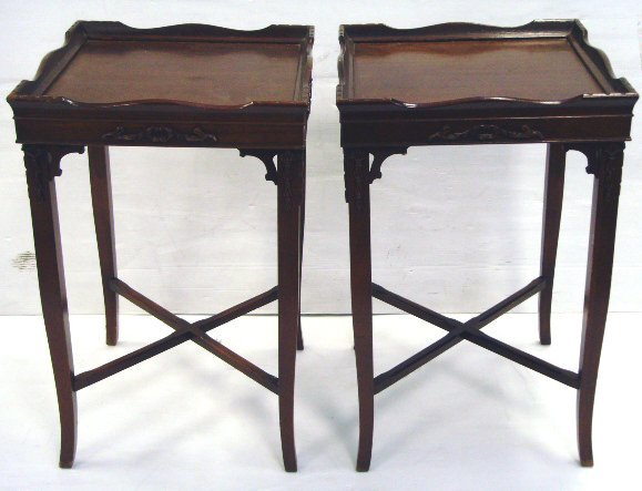 5: PAIR CARVED MAHOGANY LAMP TABLES 27 1/2 X 18 X 18