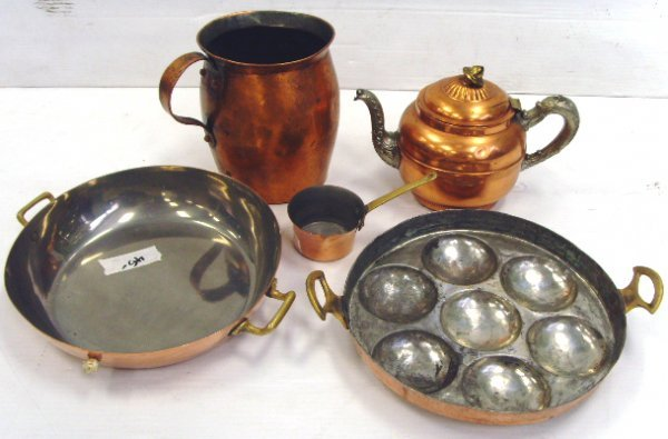 7: GROUP OF EARLY COPPER COOKWARE 5 PCS