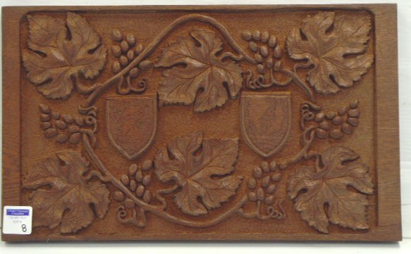 8: BLACK FOREST CARVED WOOD PLAQUE - OAK 21 1/2 X 13