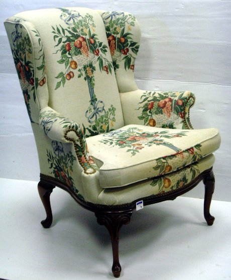 9: QUEEN ANN STYLE CARVED MAHOGANY WINGCHAIR 43 X 34 X
