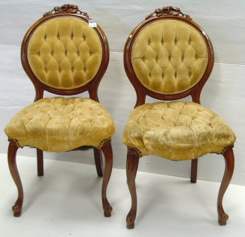 11: PAIR OF VICTORIAN STYLE SIDE CHAIRS - 37 X 23 X 20
