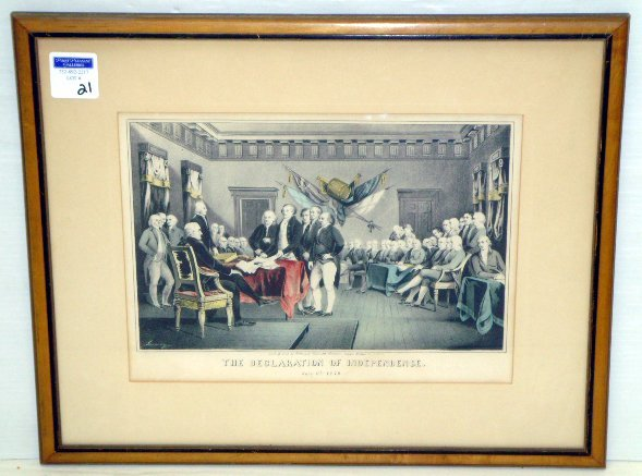 21: DECLARATION OF INDEPENDENCE COLORED LITHO - 9 1/2 X