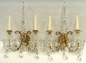 358A: 358A: PAIR FINE BRONZE CRYSTAL SCONCES