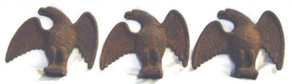 700: FOLK ART IRON EAGLE ROOF TILES SET OF 3 - 5 X 7