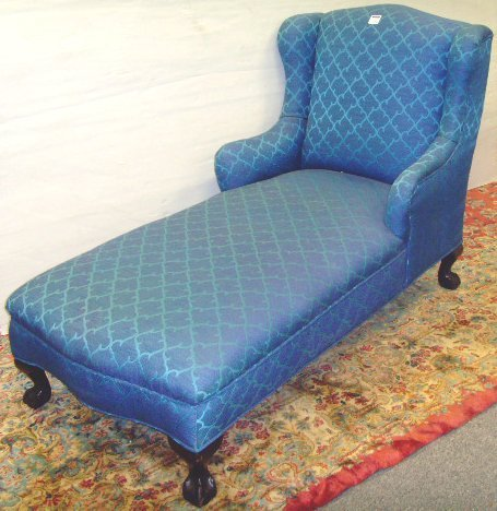 703: CHIPPENDALE MAHOGANY CHAISE LOUNGE - 60 X 30 X 38