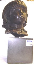 705: MODERN SCULPTURE UNSIGNED BUST OF A YOUNG GIRL WIT