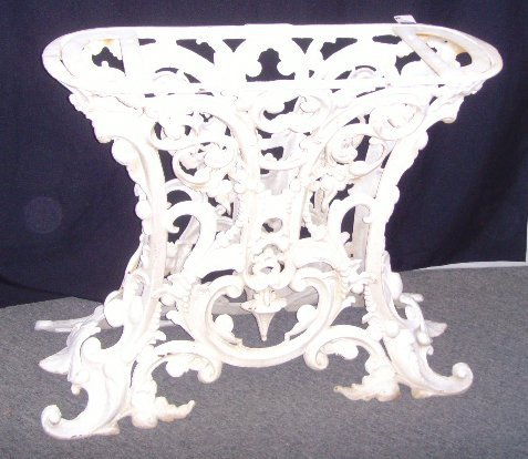 706: VICTORIAN STYLE IRON MARBLE CENTER TABLE - 37 X 15