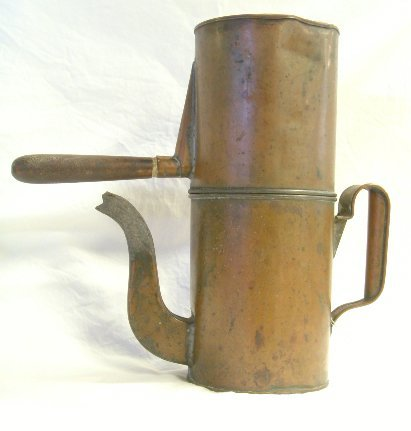 """710: EARLY COPPER COFFEE POT 11"""" TALL"""
