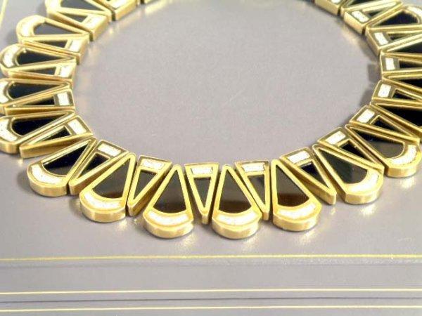 884: ART DECO STYLE 18K GOLD DIAMOND ONYX NECKLACE APPR
