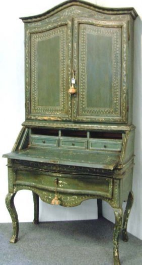 554 antique italian painted secretary desk 2pc orig lot 0554 for Olive garden never ending classics prices