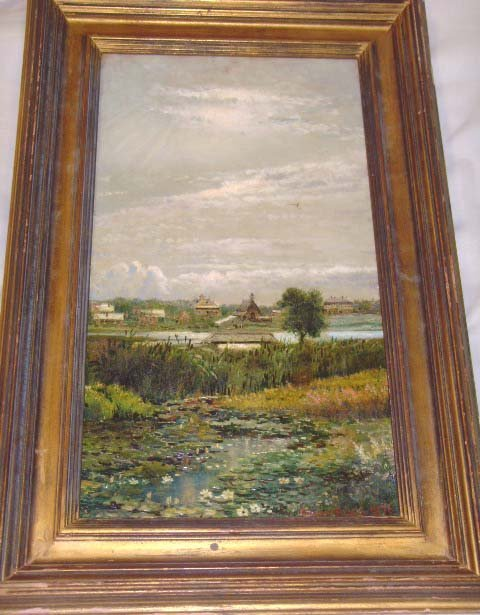 608: LEWIS, EDMUND DARCH - SIGNED OIL ON CANVAS - 11 X