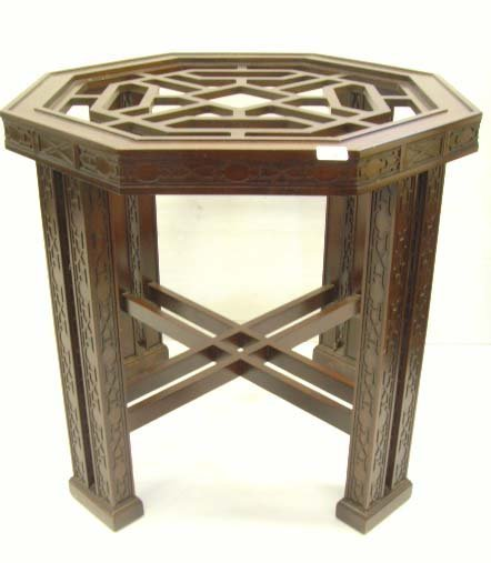 160: DREXEL CHINESE CHIPPENDALE DINETTE TABLE WITH BEVE
