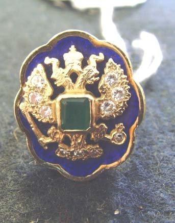 169: RUSSIAN GOLD ENAMELED DIAMOND & EMERALD RING