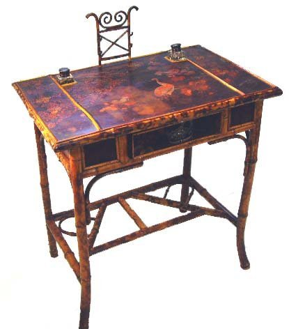 873: DECORATED VICTORIAN BAMBOO DESK - 29 X 37 X 19