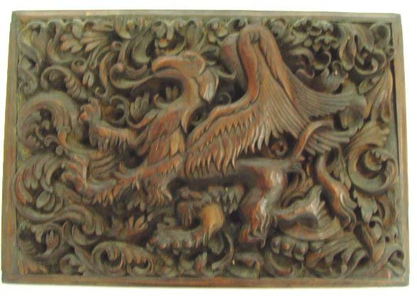 874: BLACK FOREST TYPE CARVED WOOD PLAQUE - 21 1/1 X 15