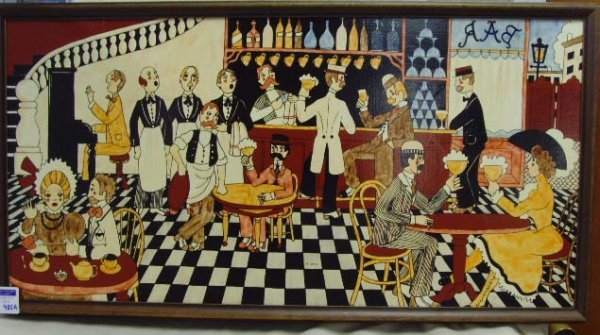 985A: CORDI, M. - SIGNED OIL PAINTING 16 X 31 BAR SCENE